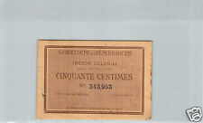 GUADELOUPE TRESOR COLONIAL 50 CENTIMES 18 AOUT 1884 PICK 1r RARE