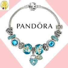 Authentic Pandora Charm Bracelet Silver Blue LOVE Heart with European Charms