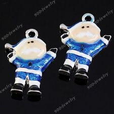 5x Silver Plate Blue Christmas Xmas Santa Claus Charm Pendant Fit Necklace DIY