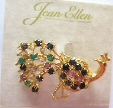 Pin/Brooch- PEACOCK -gold color- sparkly stones blue green purple clear