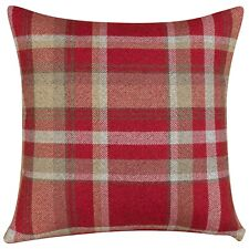 """Tartan Check Cushion in Red. Double Sided. 17"""" (43cm) Square."""