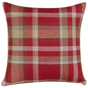 "Tartan Check Cushion in Red. Double Sided. 17"" (43cm) Square."