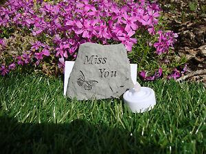 Miss You Memorial Garden Stone Plaque Grave Marker Ornament
