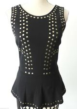 SPORTSGIRL  Sleeveless Black Embellished Peplum Top Size Small