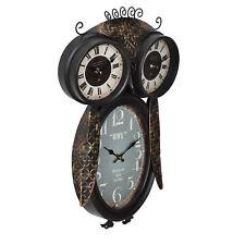 [en.casa] Horloge murale chouette métal déco Montre Design Analogue
