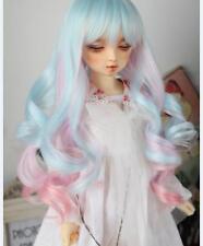 1 4 7-8 Bjd Wig MSD MDD AOD DZ SD DOD LUTS Dollfie Doll Blue mix pink Hair