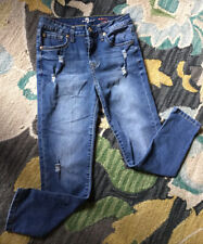 7 For All Mankind The Skinny Crop And Roll Jeans Girls  Denim Stretch Sz 14