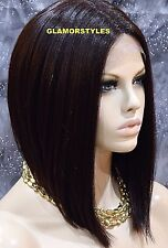 "15"" Bob Straight Dark Brown Full Lace Front Wig Hair Part Heat Ok Hair Piece #4"