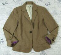 EUC J. Crew Women's Camel Blazer Single Button lined timeless Wool Blend size 12