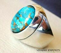 925 Sterling Silver Natural Blue Turquoise Gemstone Handmade Men Ring Sale