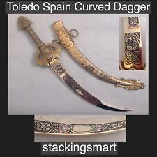 Toledo Damascene Curved Dagger Letter Opener Scimitar Kirpan Goldtone over Brass