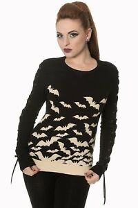 Gothic Punk Rockabilly Bats Knitted Lace Sleeves Jumper Pullover BANNED Apparel