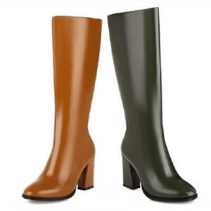 Europe Women's Round Toe Zipper Chunky Heel Knee High Knight Boots Party 44/48 L