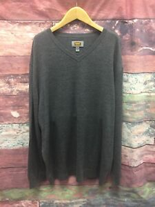 The Foundry Supply Company 2XLT Gray V-Neck Long Sleeve 100% Wool Sweater