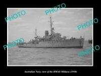 OLD LARGE HISTORIC PHOTO OF AUSTRALIAN NAVY SHIP HMAS MILDURA c1950