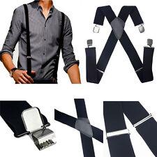 Fashion Mens Black Elastic Suspenders Leather Braces X-Back Adjustable Clip-on