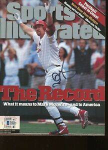 Mark McGwire No Label Signed Autographed Sports Illustrated Magazine BAS COA