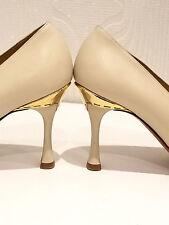 Baldinini-Tout Cuir Crème Nude Escarpins-Taille 38-UK 5-porté une fois £ 155