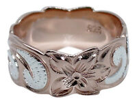 925 Sterling Silver Hawaiian Plumeria Ring 8mm Band Shiny Wave Rose Gold Plated