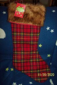 New! Christmas  Plaid Check Faux Fur Stocking Farmhouse Red & Black Lodge NWT