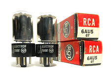 Match Codes PAIR 6AU5GT Tubes RCA USA Black Plate NOS Power Dehavilland 845 Amp