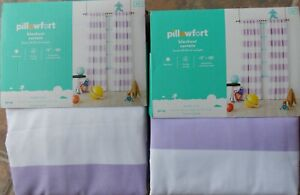 Lot of (2) Pillowfort Lavender Purple Striped Light-Blocking Window Panels ~ NEW