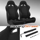 2 X Black Pineapple Seat Fabric Leftright Sport Racing Bucket Seats Slider