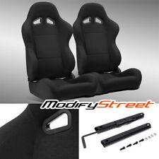 2 X Black Pineapple Seat Fabric Leftright Sport Racing Bucket Seats Slider Fits Toyota Celica