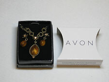 Womens Avon Faux Tiger's Eye Necklace & Earrings gift set F3662651 NIB;;