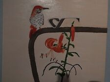 Brown thrasher and Tiger lilies oil painting