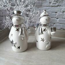 Set of 2 White & Silver Ceramic Christmas Snowman Light Up Ornaments