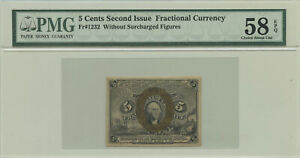 5 Cent Second Issue Fractional Currency PMG Choice AU 58 EPQ Fr #1232
