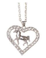 Collier pendentif acier argenté cheval dans coeur strass blanc.