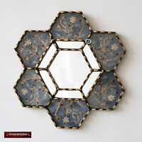 "Hexagonal Blue Wall Mirror 11.8"" from Peru, Decorative Accent Small Mirrors wall"