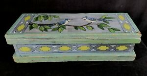 Retro Artist Signed Hand Painted Lg Wood Tool Box Or Chest W Blue Jay Motif FINE