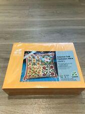 New Sealed Vintage 1975 LeeWards Needlepoint American Folk Patchwork Pillow Kit