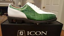 Footjoy Custom FJ ICON MyJoys Bicycle Toe Mens Golf Shoes 52080 NEW Wh/Grn 9M