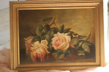 Stunning Lush Pink Roses Antique French Oil Painting Still Life