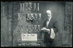 1910 ILFRACOMBE LESLIE PASMORE, THE TIE KING 24 HIGH STREET ADVERTISING POSTCARD