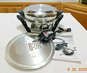 "SALADMASTER 12"" Electric Skillet 316Ti Titanium Stainless Dome Lid Steamer"