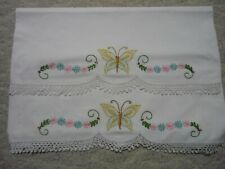 VINTAGE HAND  EMBROIDERED AND CROCHETED PILLOWCASES WITH BUTTERFLY