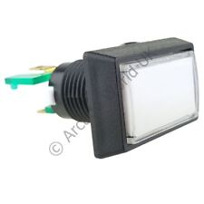 Rectangular Illuminated Arcade Button - White with 12V LED and 4.8mm Microswitch