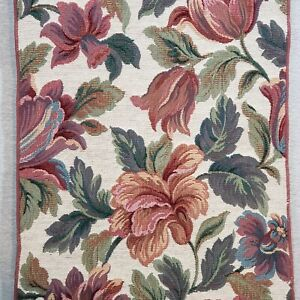 """Tapestry Table Runner 88"""" X 13"""" Scrolled Ends Tassels Floral Design Multicolored"""