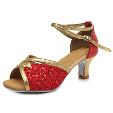 Women Girl lady's Modern Ballroom Tango Dance Dancing Shoes heeled Salsa 1818-5