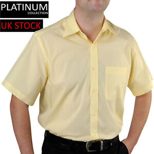 Mens Short Sleeve Formal Collar Shirt Yellow Casual Easy Care Workwear Office UK