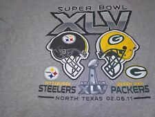 SUPER BOWL XLV STEELERS VS PACKERS 2011 LARGE GRAY T-SHIRT NFL FOOTBALL Y1
