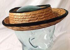 Vintage New York Creation Open Crown Straw Hat 22 Green Velvet Trim Fair Labor