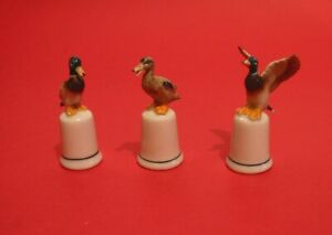 Set of Three Ducks Figurine Thimbles Ceramic Collectible CLEARANCE Sale