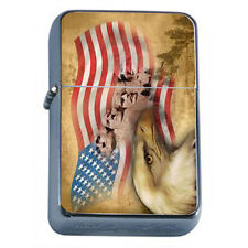Windproof Refillable Oil Lighter Vintage American Flag D8 Patriotic Stars Honor