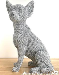 Glitzy silver Chihuahua diamante ornament figurine glittery decoration, boxed
